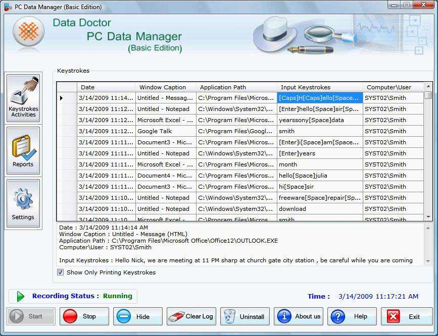 Yahoo Messenger Keylogger screenshot